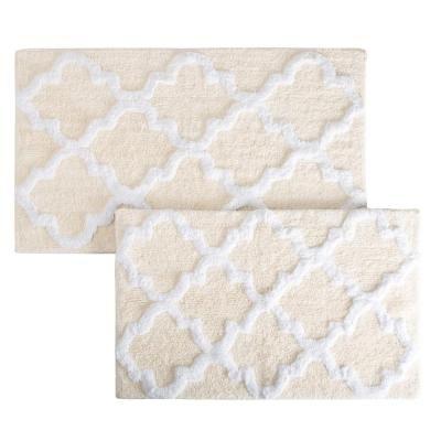 Lavish Home Trellis Bone 24 5 In X 41 In 2 Piece Bath Mat Set