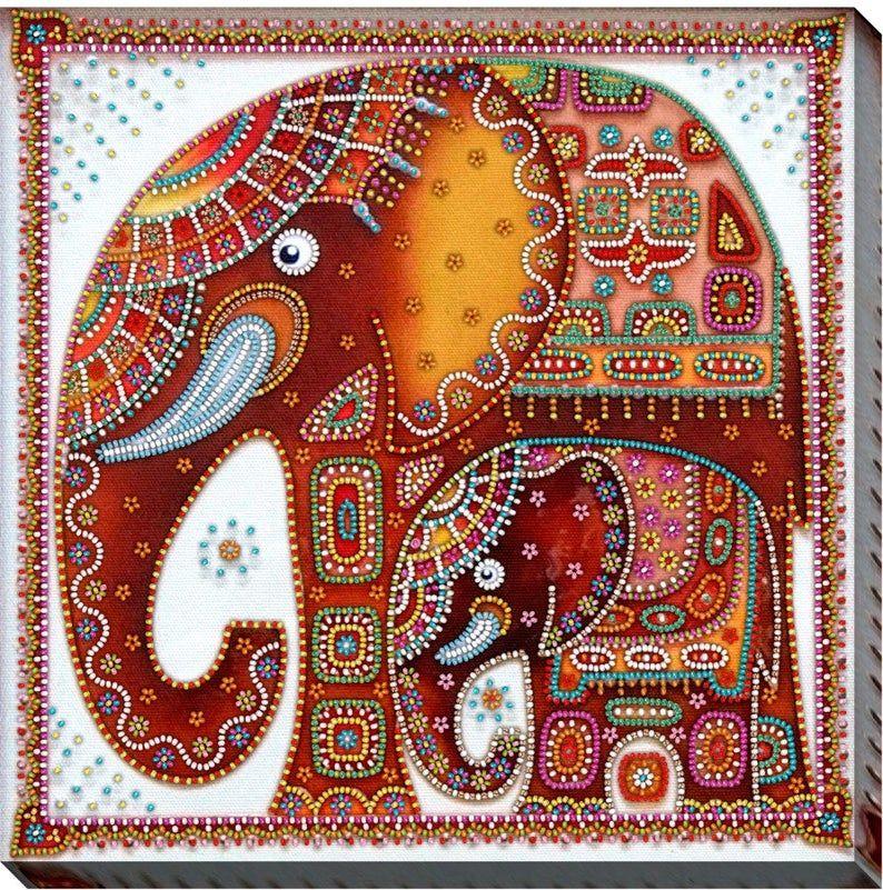 Bead embroidery kit stylized elephantselephantsanimals