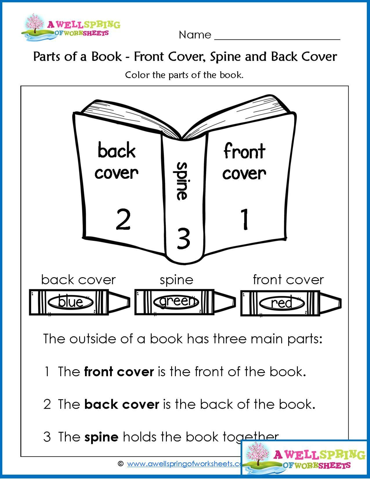 Worksheets by subject concepts of print pinterest kindergarten parts of a book worksheets vocabulary cards check out this set of kindergarten worksheets this is a page about the front cover spine and back cover ibookread ePUb