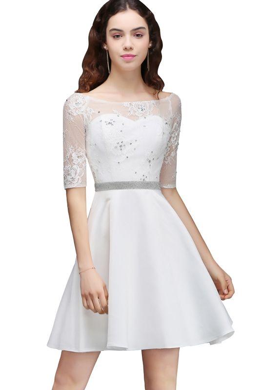 2018 mezuniyet elbiseleri beyaz kisa kayik yaka yetim kol transparan tul detayli kiyafet kombinleri mezunlar gecesi elbiseleri dantel elbi se the dress