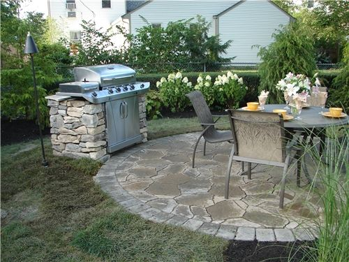 25 Great Stone Patio Ideas for Your Home | Flagstone, Grilling and on backyard sun ideas, backyard gardens ideas, backyard art ideas, backyard wood ideas, backyard spring ideas, backyard studio ideas, backyard water ideas, backyard greens ideas, backyard food ideas, backyard home ideas,