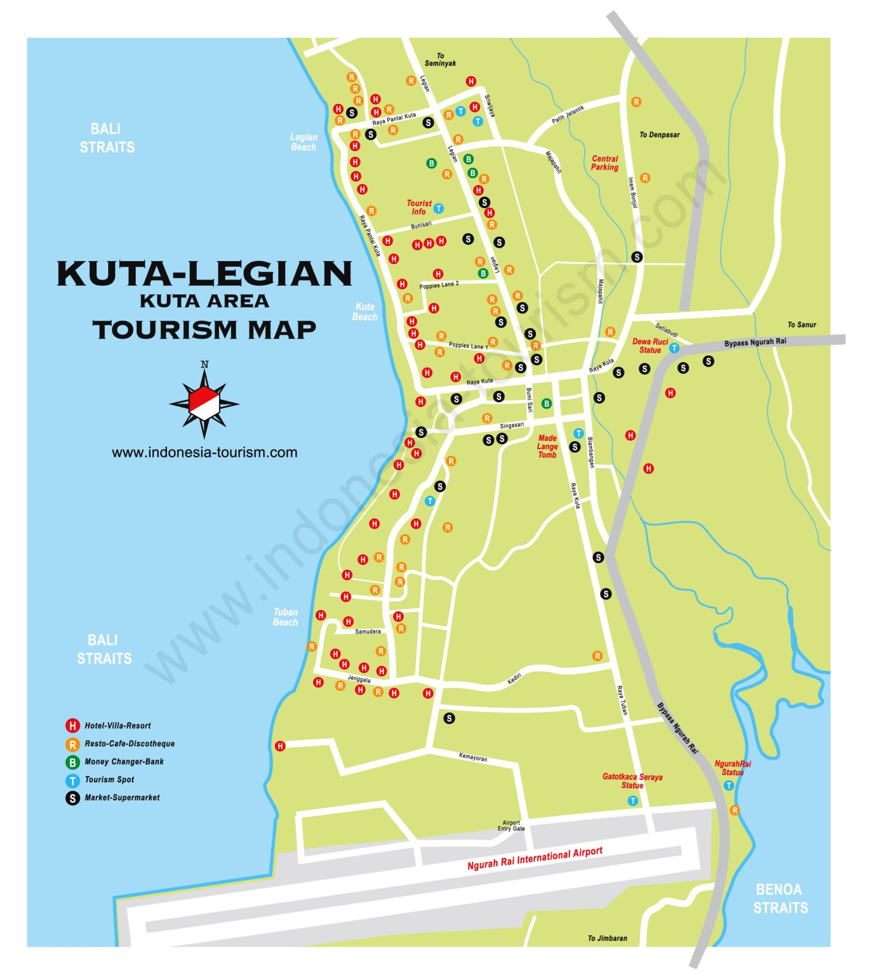 Carte Bali Legian.Carte De Kuta Et Legian Au Sud De Bali En Indonesie