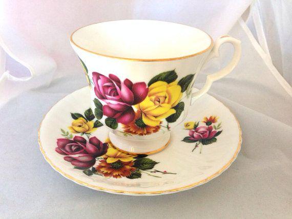 Royal Windsor English Fine Bone China Vintage Teacup & Saucer Set - Pink and Yellow Roses - maroon gold magenta burgundy green  #huntingdragons