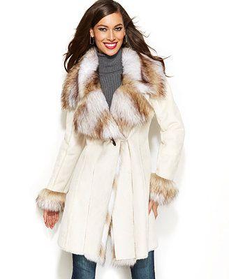 INC International Concepts Faux-Fur-Trim Faux-Suede Coat