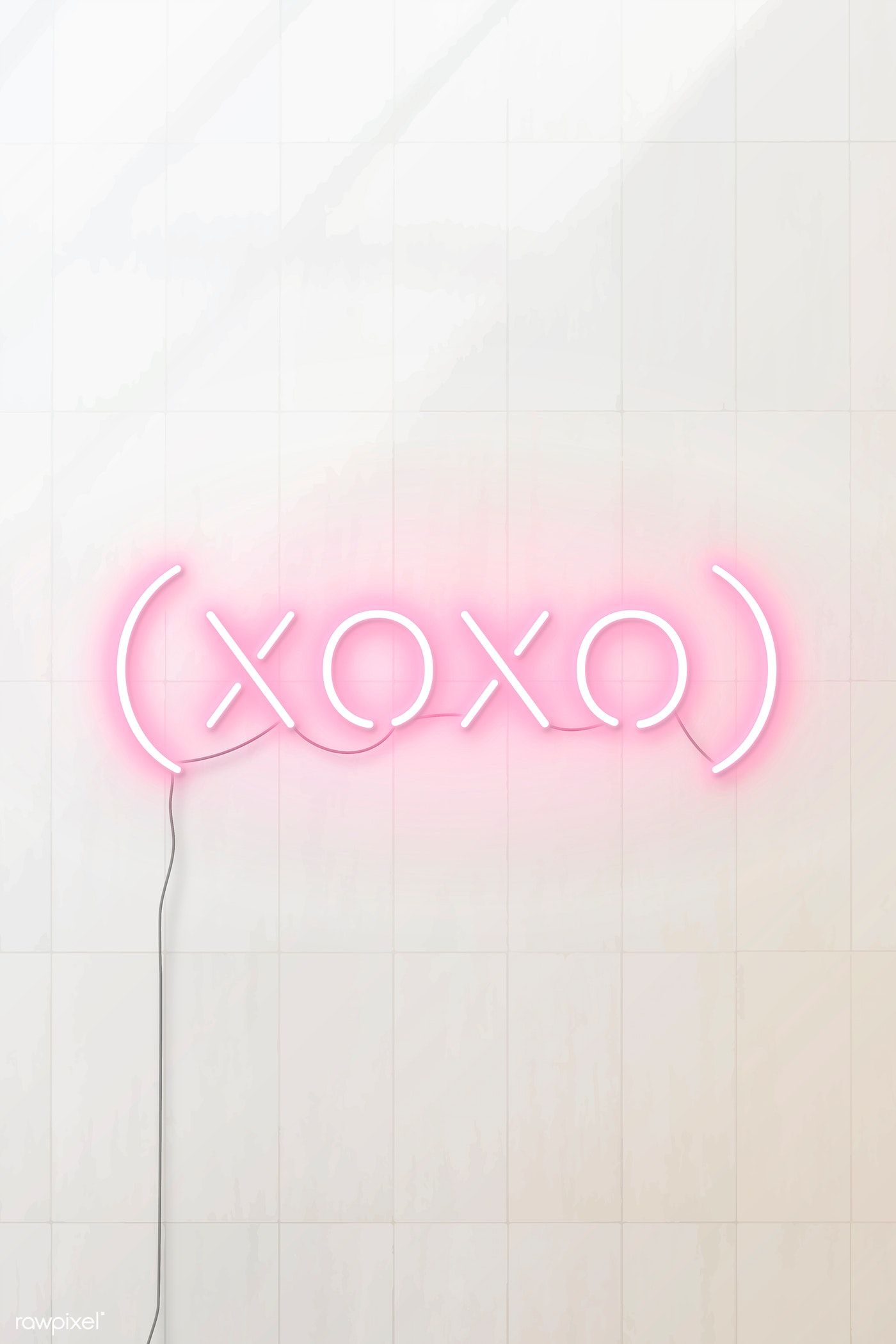 Download premium vector of Pink xoxo neon word vector
