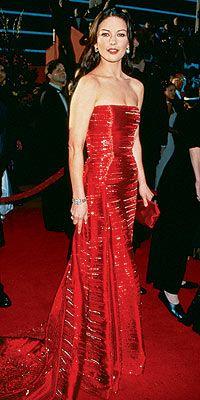 1999 Catherine Zeta Jones Red Strapless Dress Celebrity Gowns Dresses