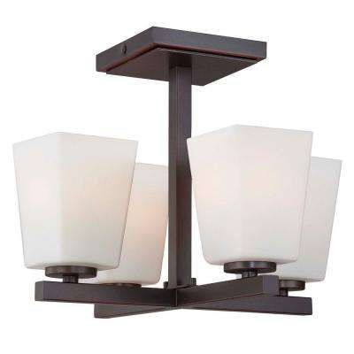 city square 4light lathan bronze semiflush mount light