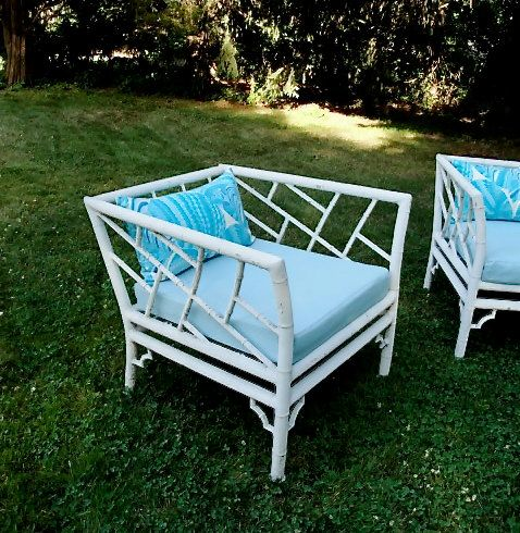 Vintage aluminum faux bamboo sofa pair of club chairs and cocktail