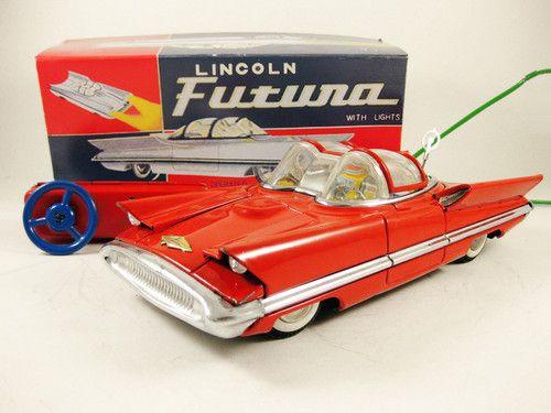 1950s Japanese Alps Lincoln Futura 11 inch RC Remote Control Tin Car