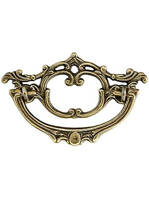 late victorian style brass bail pull with antique by hand finish 3