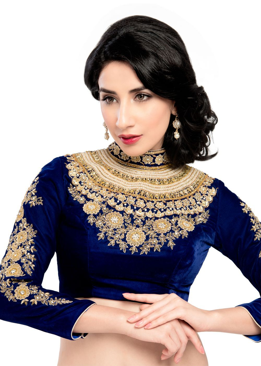 4b432039d53d2f Maharana Full Sleeve Royal Blue Velvet Saree Blouse Sari Choli - KP ...