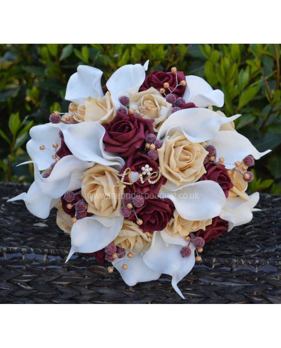 Burgundy & Gold Ready to Ship Unique Bouquet - artificial rose and calla lily with berry and bead detail