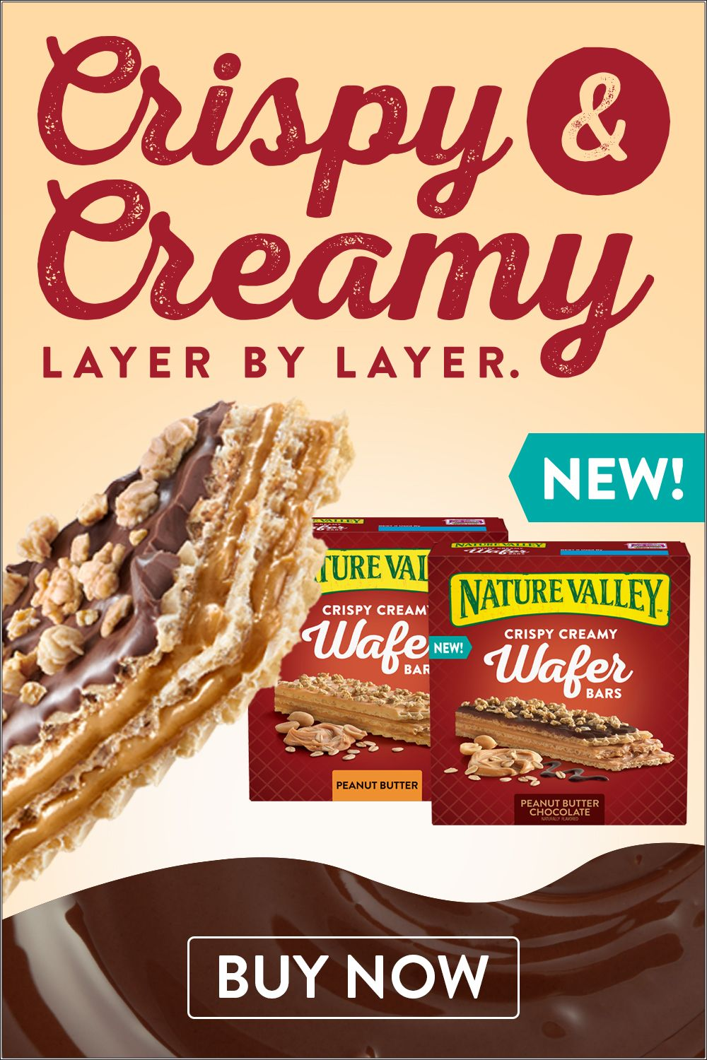 Nature Valley Wafer Bars, Peanut Butter Chocolate, 5 Ct, 6