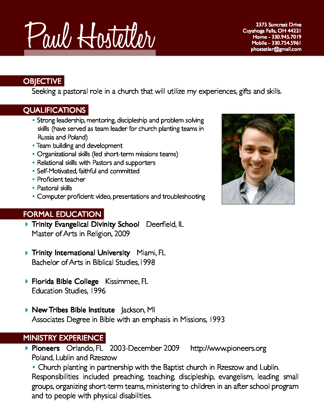 sample pastoral resume template