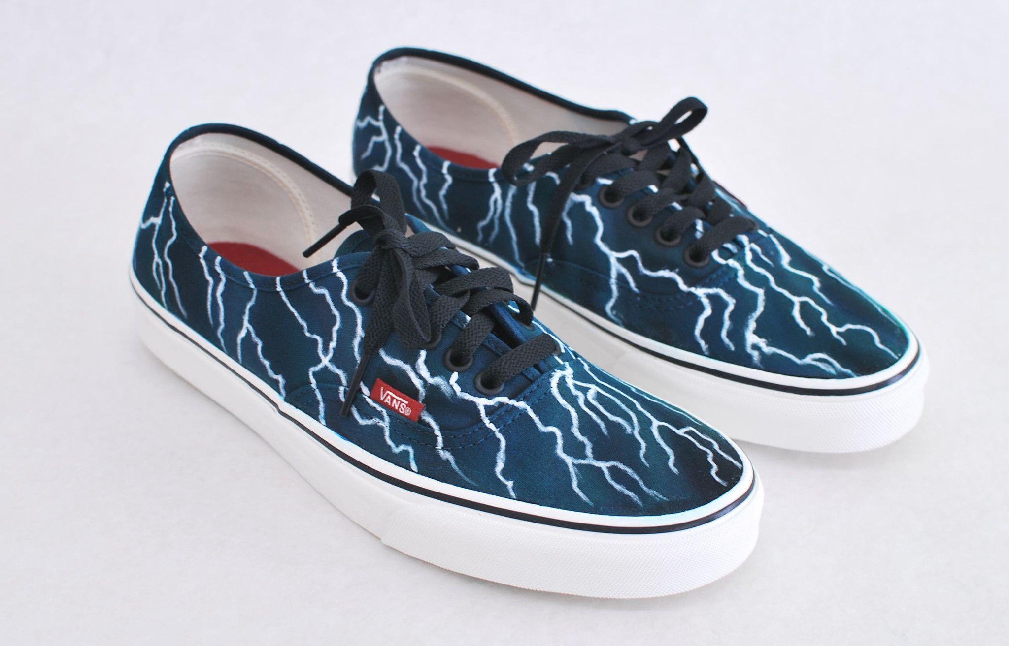 Black Authentic Vans - Lightning Bolts  7660c6ab1f