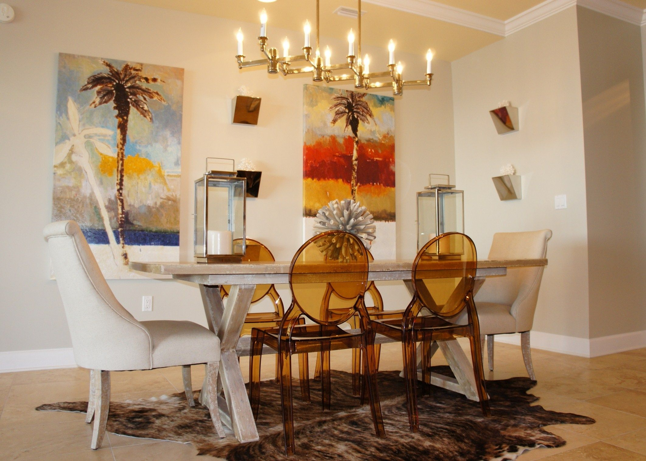 Dining Room Chandelier Painting White Table Candle Holder Sconce Animal Print Carpet Brown Chair Wooden Floor Versus No