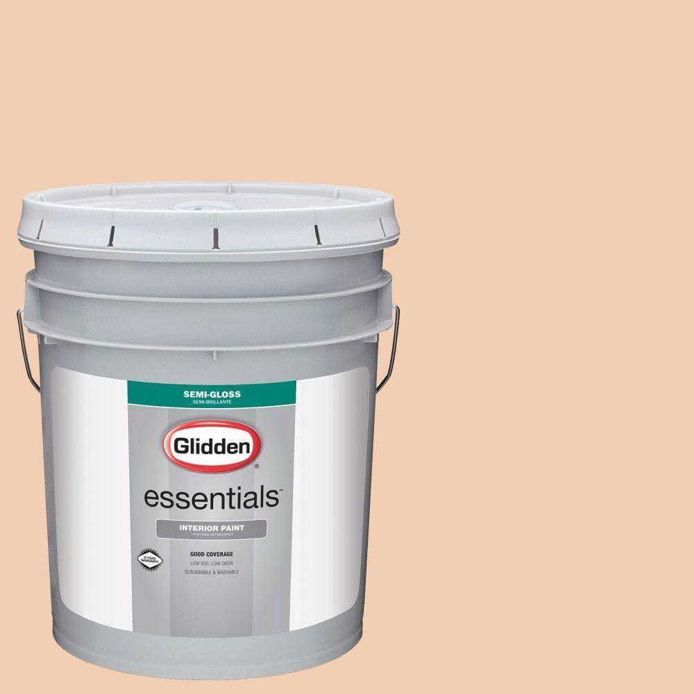 Glidden Essentials 5 gal. #HDGO23U Orange Pekoe Semi-Gloss Interior Paint