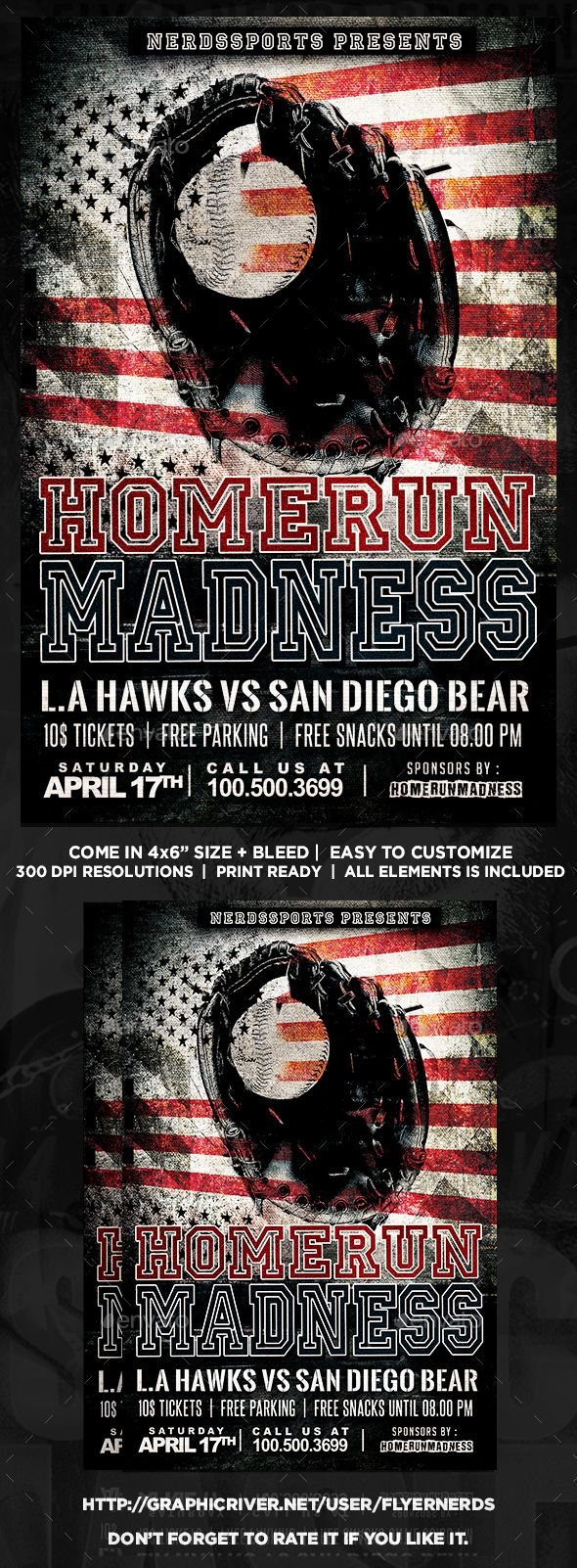 Homerun Madness Baseball Sports Flyer  Event Flyers Font Logo