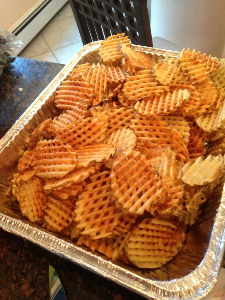 Homemade waffle fries are easiest to make using a