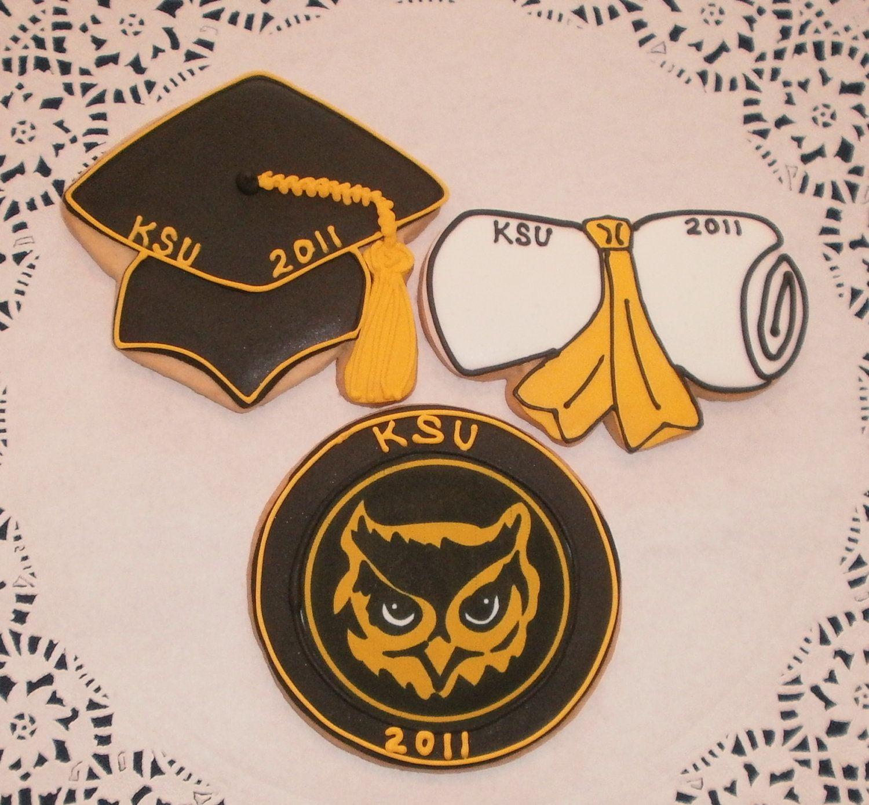 Graduation Cookies. 48.00, via Etsy. Kennesaw State