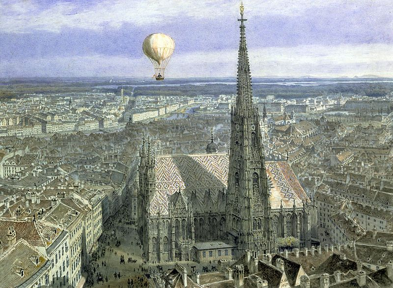 """St. Stephens - """"Wien aus dem Luftballon gesehen von Südwesten"""" - Jakob Alt (1847), Vienna Museum"""