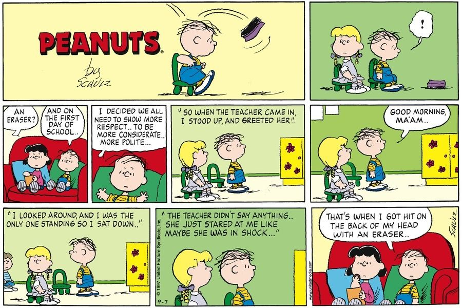 Peanuts By Charles Schulz For September 07 1997 Gocomics Com Comic Strips Charlie Brown And Snoopy Snoopy Comics