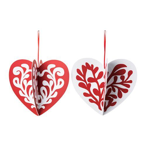 VINTERMYS Hængende dekoration, hjerte forskellige mønstre