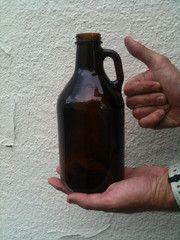 Amber 1/4 Gallon Glass Jug (Growler) 32 oz, Single