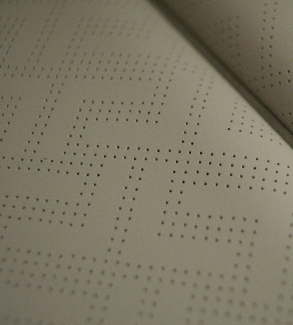 Oasis leather, perforated with Linking-Ls.