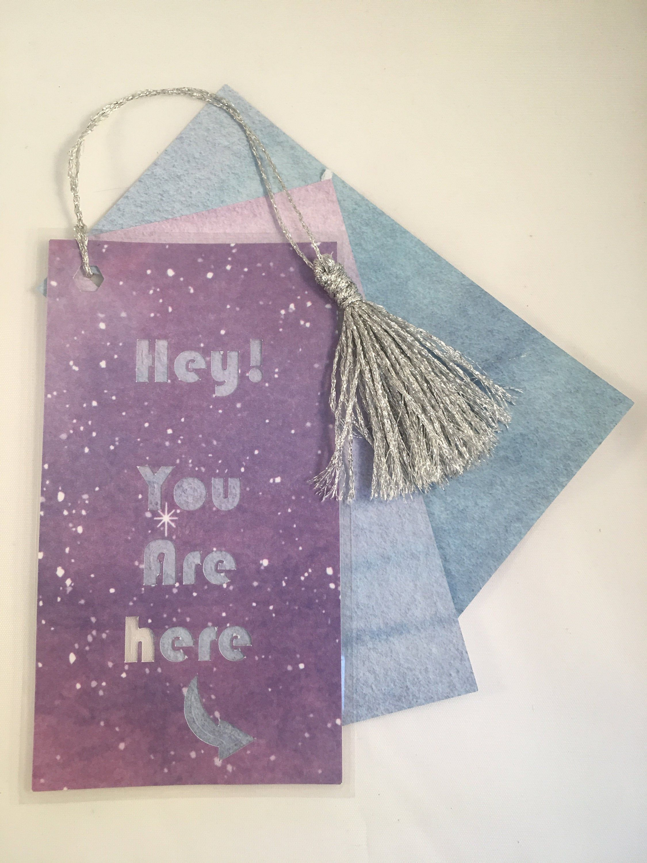 Purple star or night sky bookmark with two note-taking cardstock pages and silver tassle #dolistsorbooks