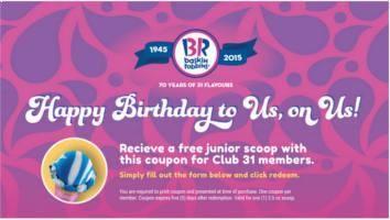 FREE Junior Scoop at Baskin Robbins on http://www.freebiescouponsdeals.com/
