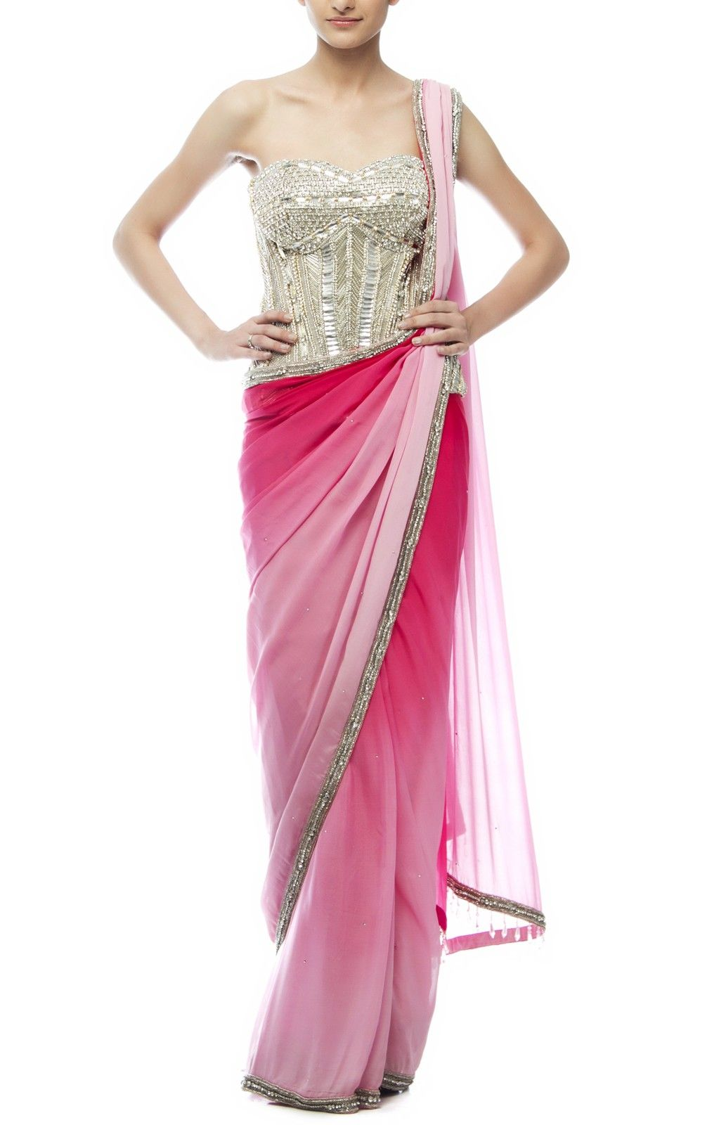 Pink Georgette #Saree with Silver #Dimante #Corset. | saree | Pinterest