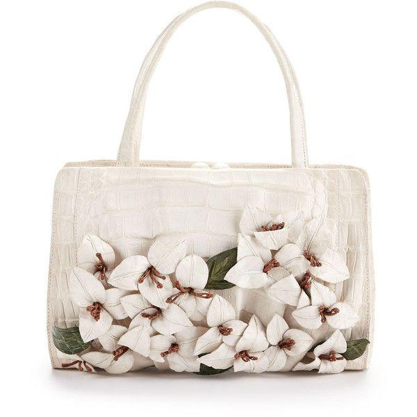 Nancy Gonzalez Large Floral-Applique Crocodile Satchel Bag, White (€3.275) ❤ liked on Polyvore featuring bags, handbags, purses, bolsos, handbags totes, floral purse, white purse, white handbags and white satchel handbags