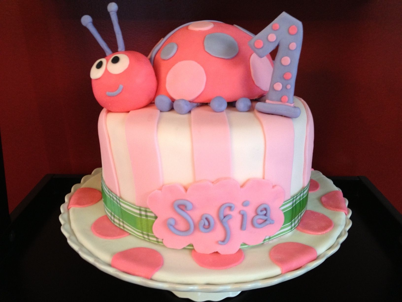 Pink Ladybug 1st Birthday Cake Cakes By Maggie Lilys First
