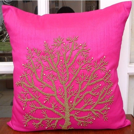 Decorative 20 X20 Fuchsia Pink Pillow Case Cover Art Silk Throw