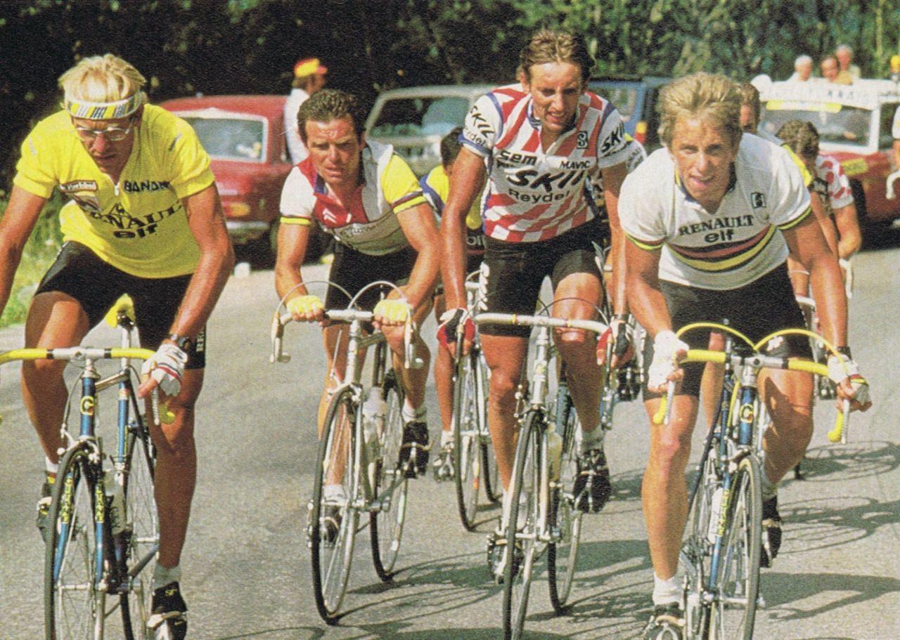 La Plagne, 1984. El grupo de la sabrosura, Fignon, Hinault y Lemmond