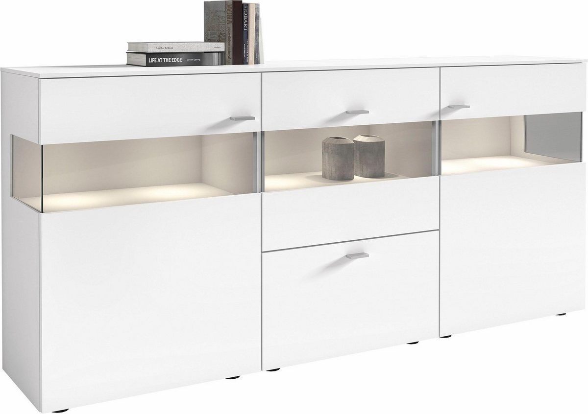 Sideboard Anzio Lack Weiss 3 Turig Breite 195 Cm Einrichtungstipps Ruckwand Und Tur Mit Glaseinsatz