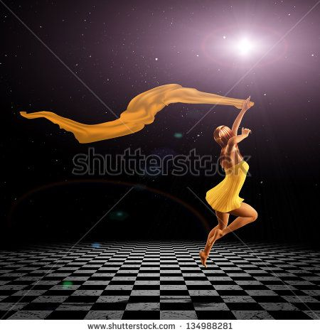 3d girl jumping with a red scarf on the checkered floor over star field.