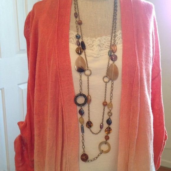 Mixed Media Long Necklace Mixed Media Long Necklace. Stones, resin, and gold chain. Double strand. Lobster clasp. In excellent used condition. Catherines Jewelry Necklaces