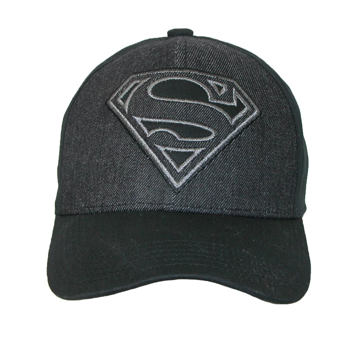 6b915d898b9e3 Black on black Superman hat is stylish for superhero lover in all of us.  Experience