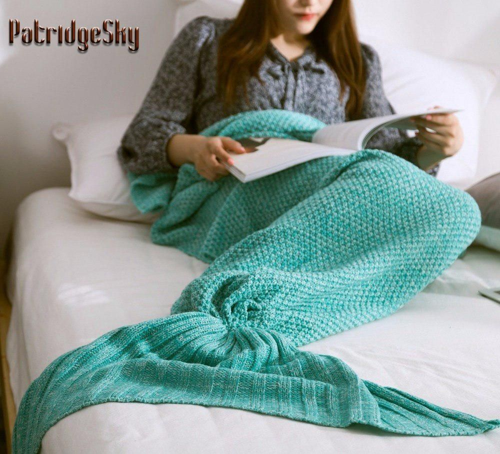 2017Mermaid Tail Sofa Blanket Super Soft Warm Hand Crocheted Knitting Wool Adult