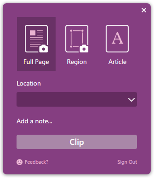 Install and use the OneNote Clipper extension from Google