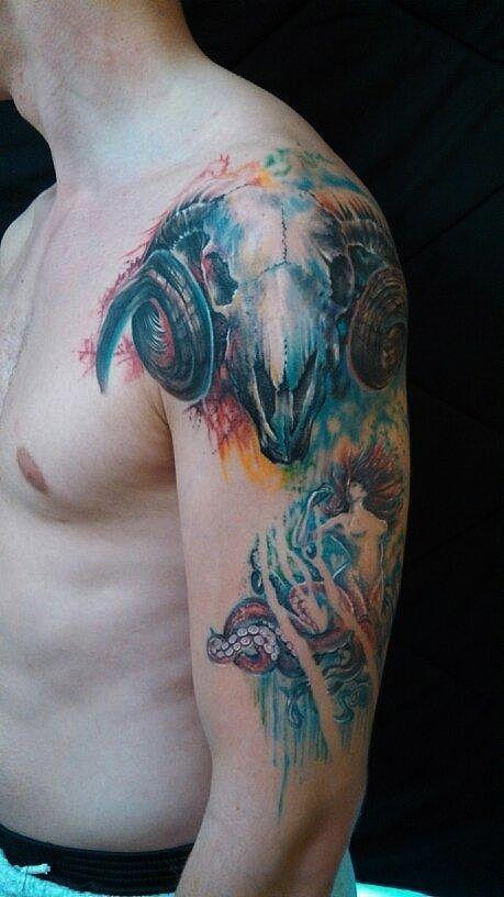 Healed Watercolor Ram Skull Tattoo Joel Wright Jole