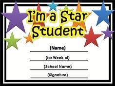 Free Star Awards  Templates Certificates Star Student Certificate