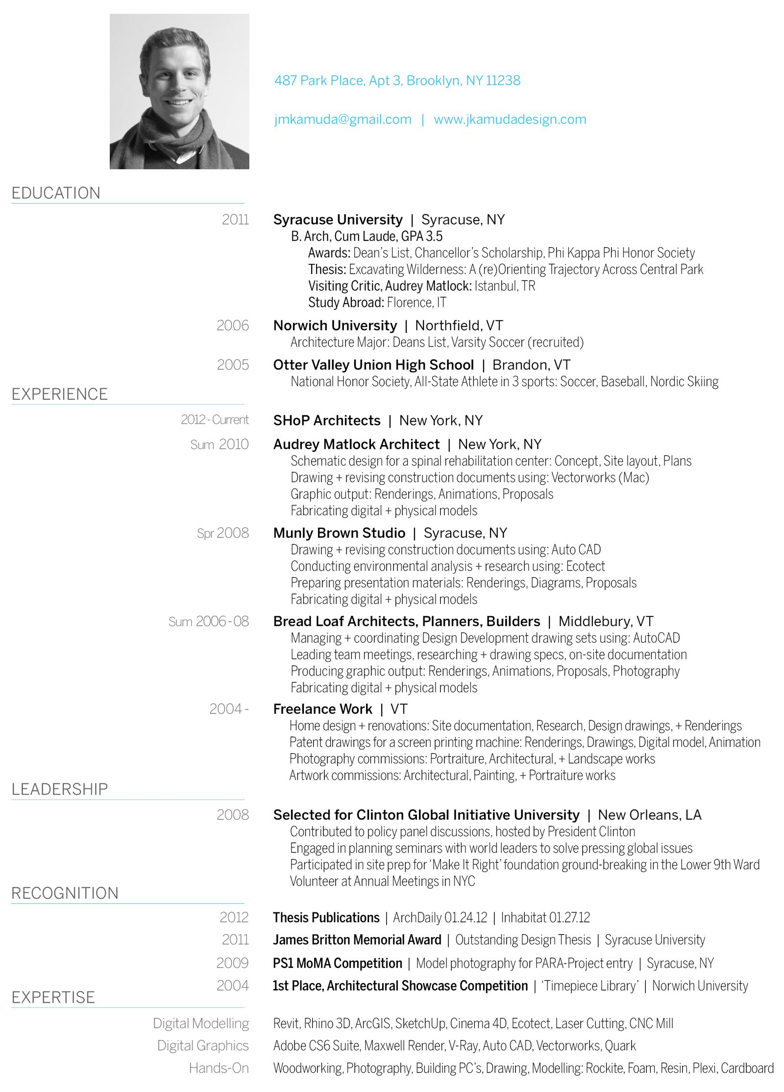 Curriculum Vitae  Architecture  Design Portfolio  Currculo