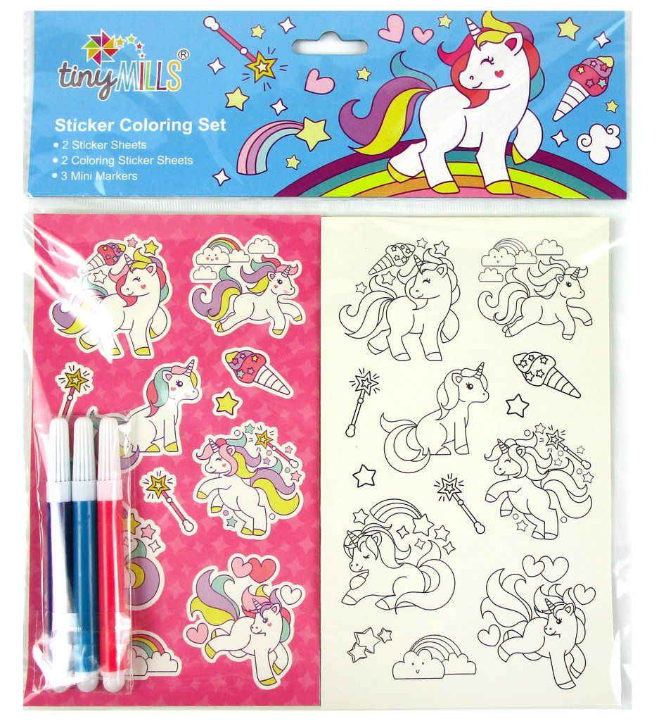 Unicorn Color In Sticker Set With Markers Unicorn Party Favors Coloring Stickers Birthday Party Giveaways