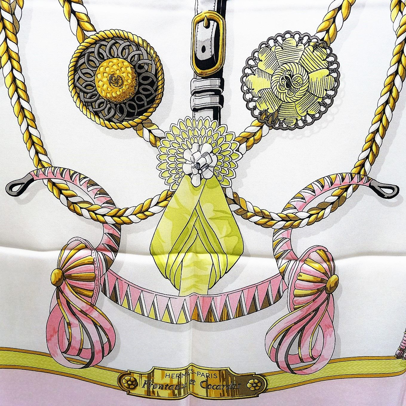 950d7430df03 Authentic Hermes Silk Scarf Frontaux et Cocardes Pink Green Early Issu –  Carre de Paris
