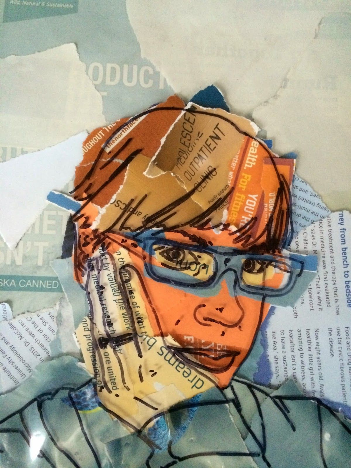 Project ART A DAY Lesson Color Scheme Selfies Magazine Collage And Drawing On Acetate