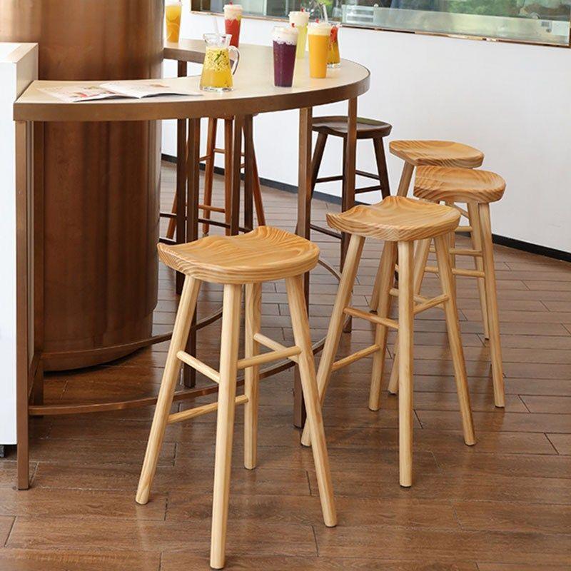 Nordic Modern Minimalist Bar Chair Solid Wood Home Creative High