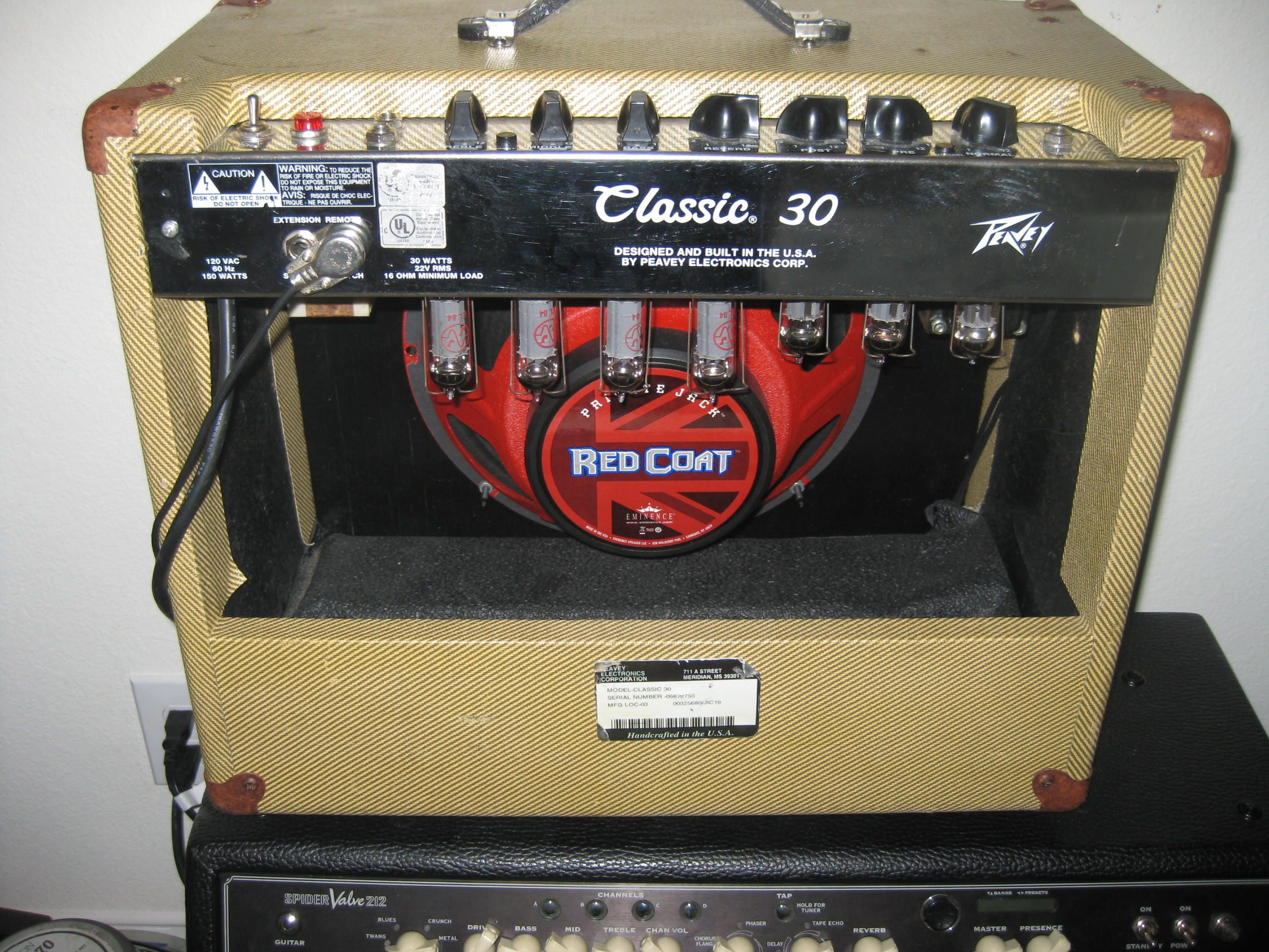 Tried and True Peavey Classic 30 all Tube Amp, with Eminence Red ...